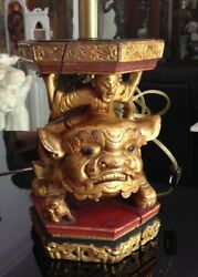 Pair Antique Chinese Wood Carved 9 Tall Foo Dogs Table Lamps