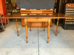 Vintage Mid Century Drexel Knotty Pine Drop-leaf Table W/ Cherry Finish 2 Leaves
