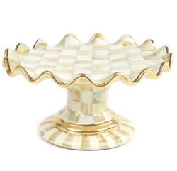 Mackenzie-childs Parchment Check Fluted Cake Stand