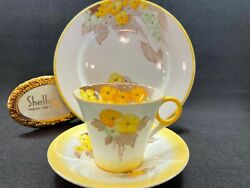 Shelley Regent Shape Yellow Phlox Trio Demi Cup Saucer And Plate 12190