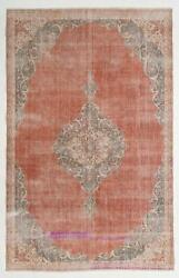 7.3x11.4 Ft One Of A Kind Early-20th Century Shabby Chic Vintage Turkish Rug