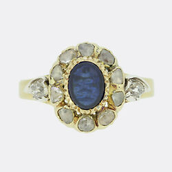 Gold Diamond Ring- Victorian Sapphire And Diamond Cluster Ring 18ct White Gold