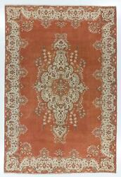 8.3x12.3 Ft Fine Vintage Turkish Rug In Rust, Terracotta, Off White Colors
