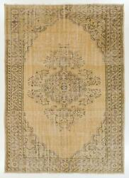 7.1x11 Ft One Of A Kind Vintage Hand-knotted Oushak Rug