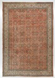9.2x13.5 Ft Fine Vintage Floral Turkish Area Rug In Soft Pink, Peach Colors