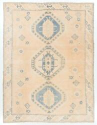 9.6x12.5 Ft Vintage Anatolian Rug In Salmon Pink, Cream And Light Blue Colors