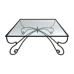 Forged Iron And Glass Square Coffee Table Art Nouveau 1940s Vintage Retro Outdoor