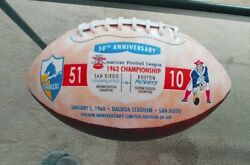 San Diego Chargers 50th Anniv Embossed 1963 Afl Championship Football Ltd 600