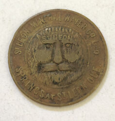1890 St. Leon Mineral Water Quebec Good For One Glass Rare Vintage Trade Token