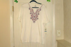 Alfred Dunner Plus Size 2x Top Laguna Beach White Embroidered Yoke New W/tags