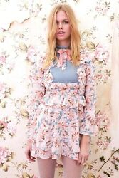 For Love And Lemons Blossom Ruffles Victorian Floral Mini Dress M 323
