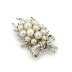 2.00tcw Diamond And Pearls 14k Gold Ribbon Bow Cluster Grapes Brooch Liquidation