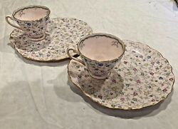 Rare Vintage Tuscan Bone China Tea Cup And Biscuit Plate 4878h Set Of 2