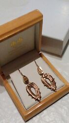 Collectible Antique 9ct Gold Victorian Etruscan Revival Drop Earrings In Box