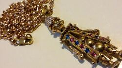 Large 9ct Solid Rose Gold Articulated/movable Clown Pendant And Chain 29.60 Grams