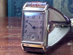 14k Solid Rose Gold Bulova Manandrsquos 21 Jewel Wrist Watch Copper Dial C.1947 Offers
