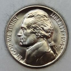 1942 D Jefferson Nickel Type 1 Mintage Of 13.9 Mil Scarce. Almost Full Steps