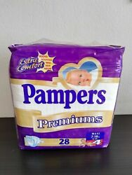 Vintage Pampers Premiums Full Pack With 28 Diapers 7-18kg / 15-40lbs New Sealed