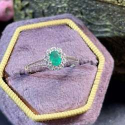 Natural Green Emerald Anddiamond 925 Sterling Silver Wedding Ring Gift For Her