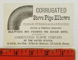 Vintage 1900and039s Corrugated Stove Pipe Elbows Company Business Card