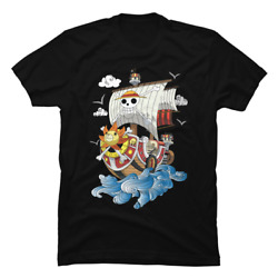 One Piece Anime - Thousand Sunny Ship T-shirt Anime Crew Cotton Tee In All Sizes