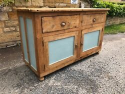 Fabulous Antique Pine Dresser Base With Painted Panels And Doors