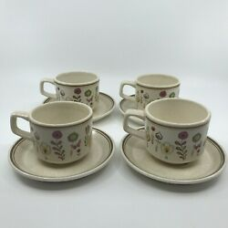 Set Of 4 Vintage Lenox Temper-ware 'sprite' Cups And Saucers