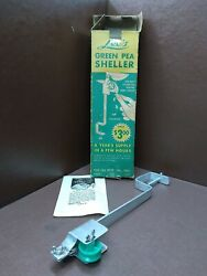 Vintage Leeandrsquos Green Pea Sheller W/ Original Box And Paperwork Manually Operated