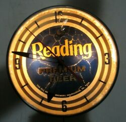 Vintage 1958 Reading Beer Pam Lighted Clock Pennsylvania Advertising Sign