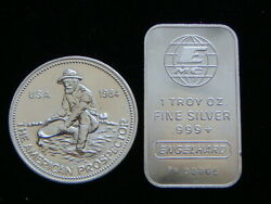 Engelhard Circulated 2 Troy Ounces Total .999 Fine Silver Bar And Round