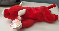 Ty Beanie Baby Red Snort The Bull Plush Toy - 4002 Great Condition With Tag