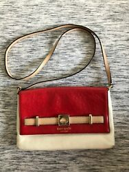 Kate Spade Small Crossbody Purse Handbag Red and white leather $18.00
