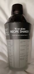 Recipe Shaker Frosted Glass With Stainless Steel Lid 16 Oz   Free Shipping