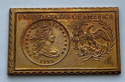 1976 Numistamp Medal Stamp 1795 Draped Bust Dollar Coin Plaque