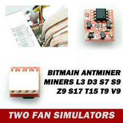 2pcs Fan Simulators For Bitmain L3 D3 S7 S9 Z9 S17 T15 T9 V9 Antminer Miners