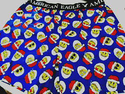 AMERICAN EAGLE MENS BOXERS LARGE WILL FIT WAIST SIZE 35quot; 38quot; SANTA EMOJI FOR DAD $16.84