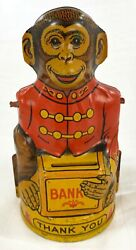 1930s J Chein And Co Tin Litho Thank You Monkey Bank Stopper Incl No Arms Or Hat