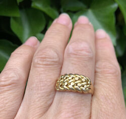Antique 18ct Gold Keeper Ring Size Q Heavy 6.9grams