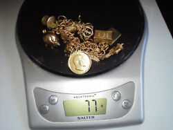 9ct Solid Gold Charm Bracelet With Full 22ct Sovereign 77g