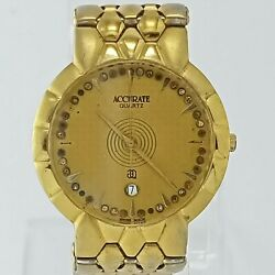 Vintage Gold Plated 22k Not-working Swiss Accurate A149un Quartz Wristwatc 32 Mm