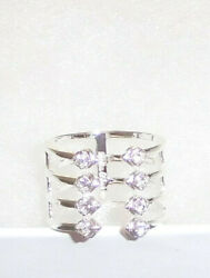 Stella And Dot Gemini Silver Ring - New Adjustable Sizes S- M App. 5 - 7 Rv 29