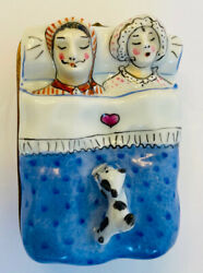 French Limoges Trinket Box Couple Sleeping with Cat On Bed Blue Rare amp; Signed