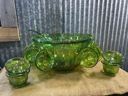 Indiana Glass Green Carnival Glass Grape Harvest Punch Bowl, Cups, Ladle