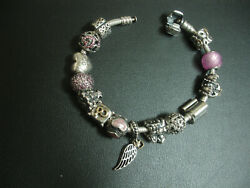Pandora 925 Ale Silver Charm Bracelet With 13 Charms 1 Clip Boxed