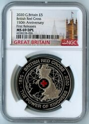 2020 G. Britain Ngc First Releases Ms69 Dpl 150th Anniv. British Red Cross 5pnd