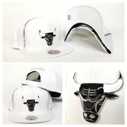 Mitchell And Ness Zipper White / Silver Metal Badge Chicago Bulls Snapback Hat Cap