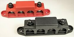 4 Post Busbar Bus Bar Power Distribution 12v 250a 3/8 Red And Black Pair
