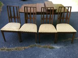 Brasilia By Broyhill Mcm Mid Century Modern Walnut Dining Table And 4 Sidechairs