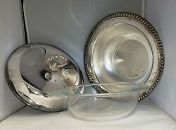 Vintage Leonard Silver Plate 9 Round Serving Dish With Lid And 2 Quart Pyrex