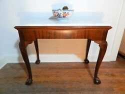 Antique Chippendale Mahogany Ball Claw Marble Top Console Mixing Side Table